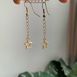 handmade gold chain star earring